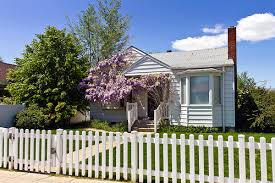 House with white picket fencing