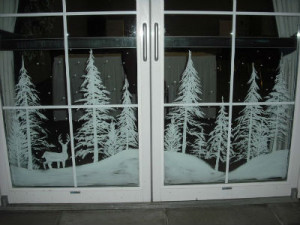 Painted Christmas landscape
